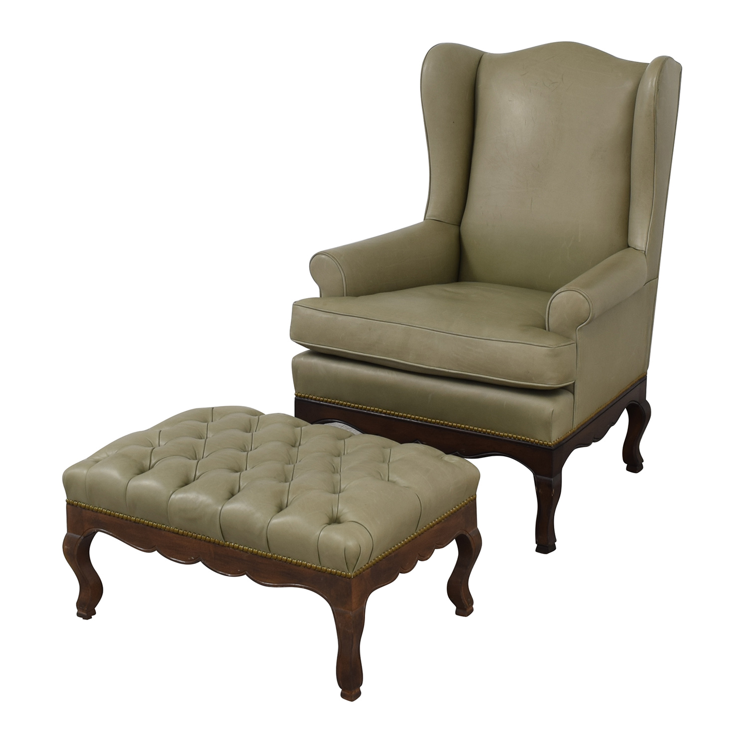 Pleasing 90 Off Green Leather Wing Back Chair With Tufted Ottoman Chairs Camellatalisay Diy Chair Ideas Camellatalisaycom