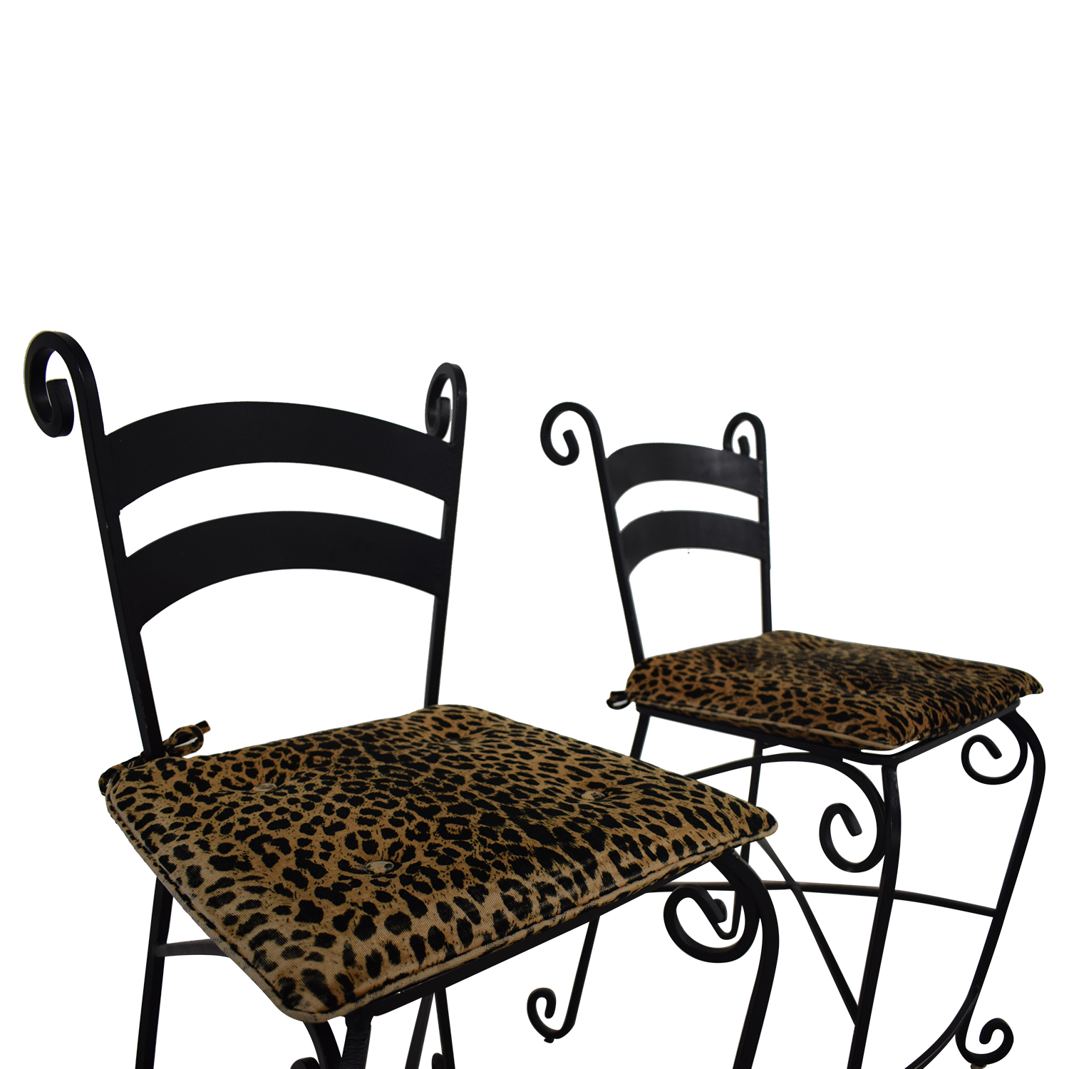 Leopard Counter Height Black Wrought Iron Stools Stools