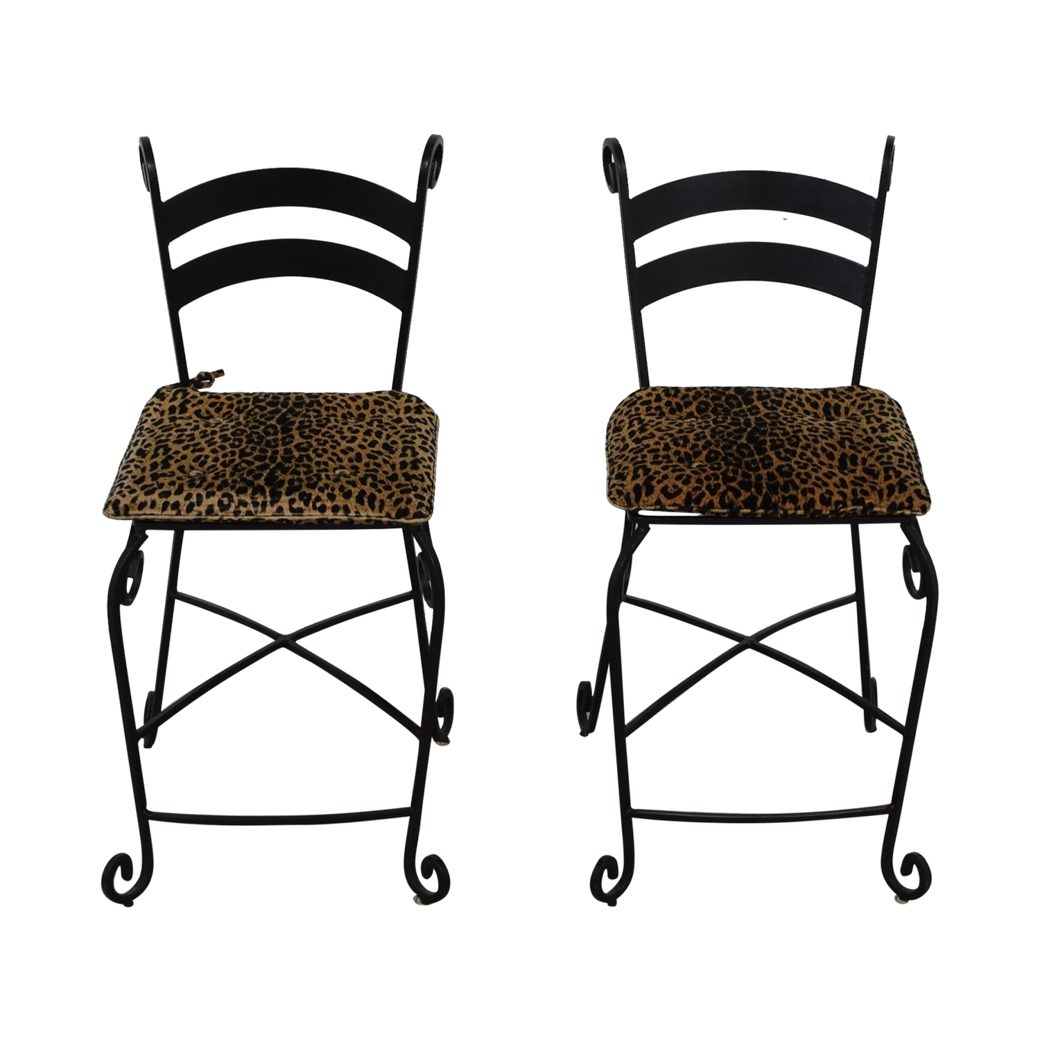 Leopard Counter Height Black Wrought Iron Stools used
