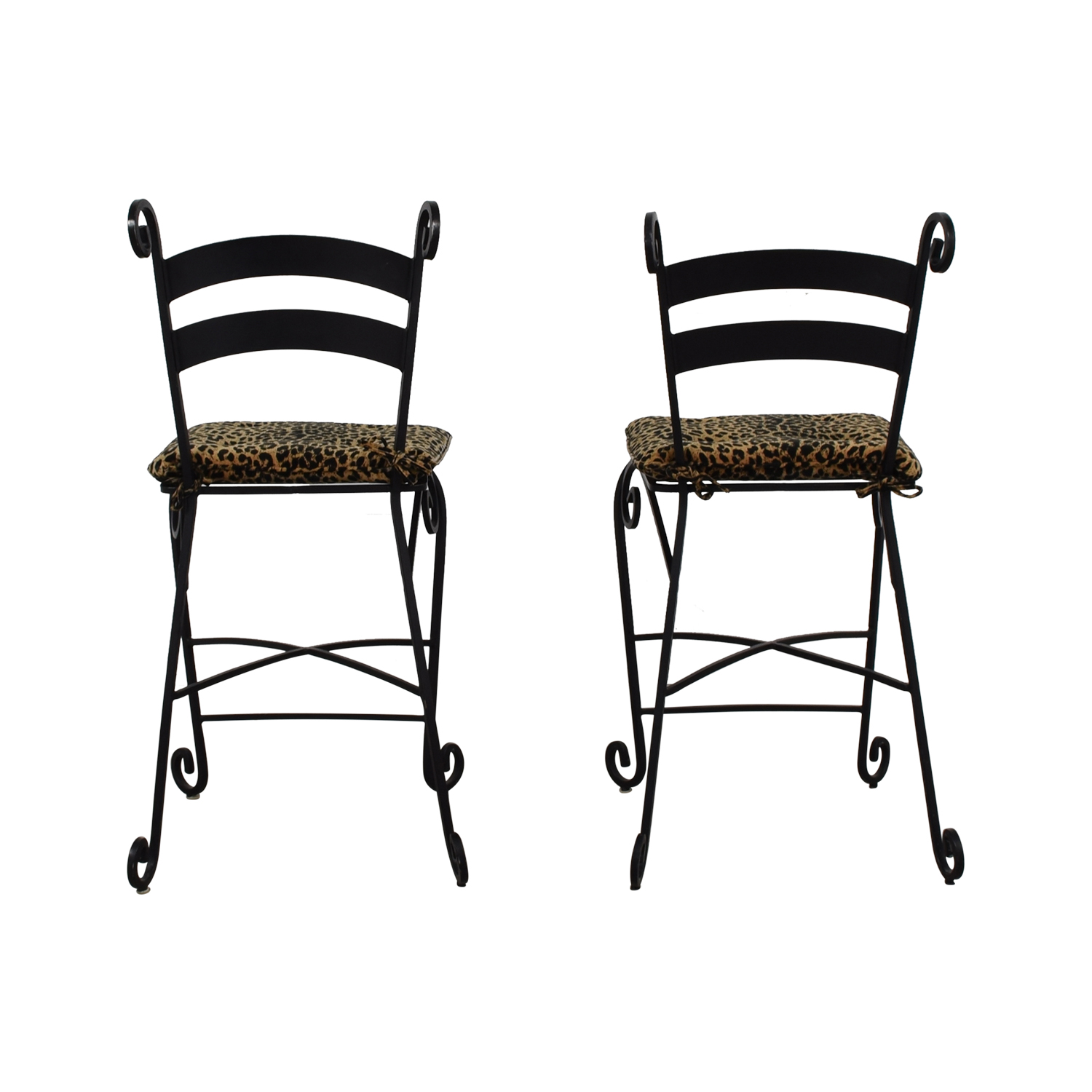shop Leopard Counter Height Black Wrought Iron Stools  Stools