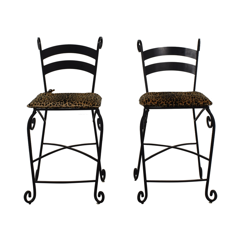Leopard Counter Height Black Wrought Iron Stools coupon