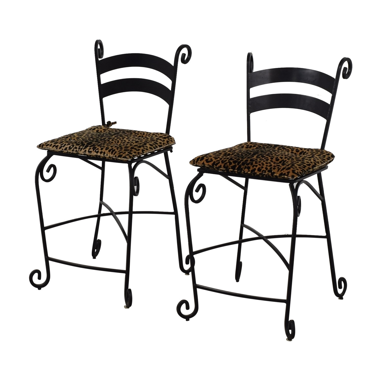 Leopard Counter Height Black Wrought Iron Stools sale