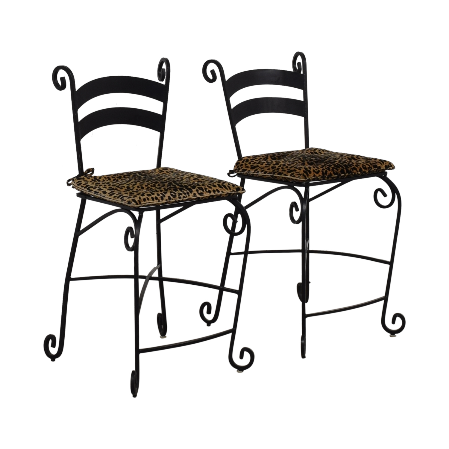 Leopard Counter Height Black Wrought Iron Stools on sale