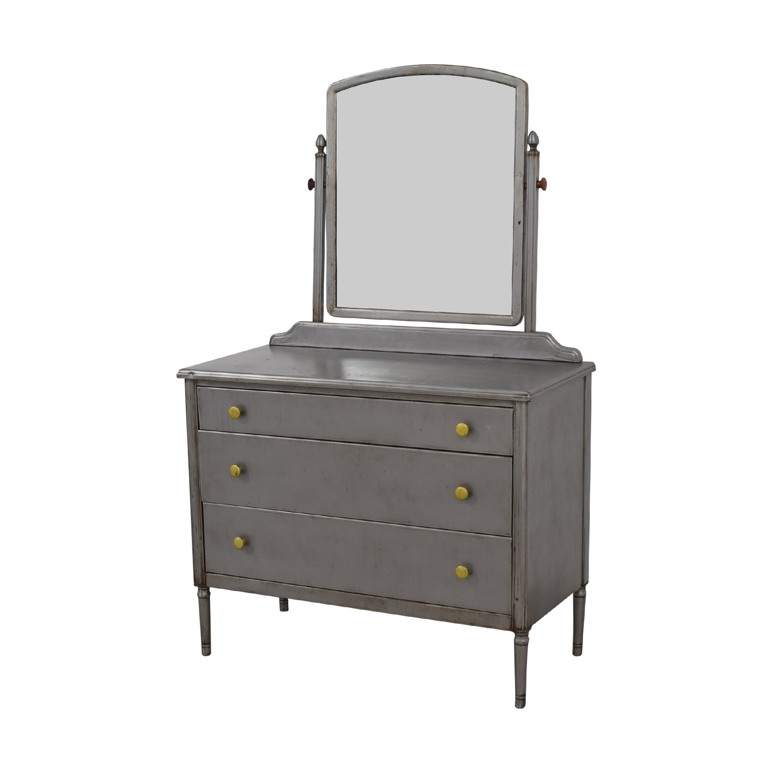 Simmons Antique Refinished Metal Dresser With Mirror