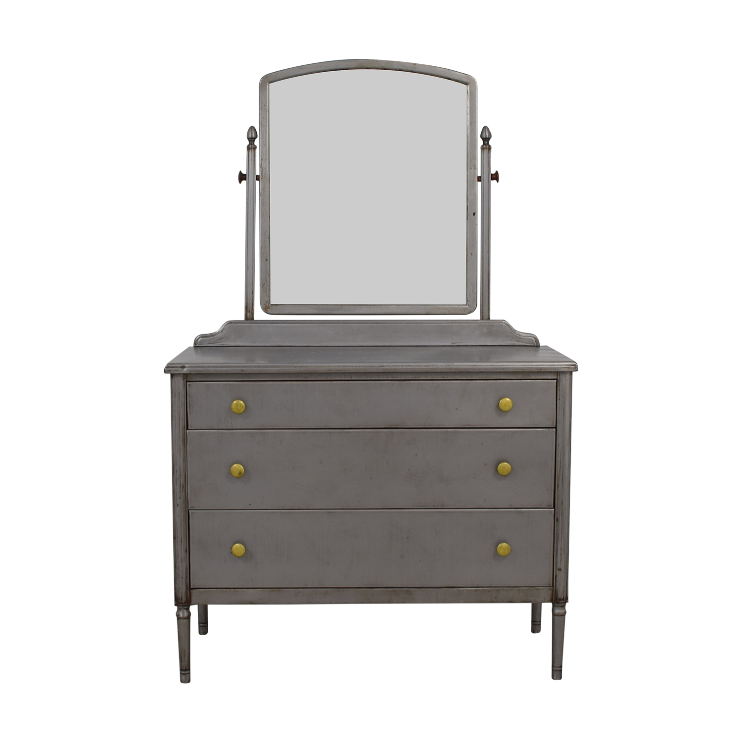 Simmons Simmons Antique Refinished Industrial Metal Dresser with Mirror for sale