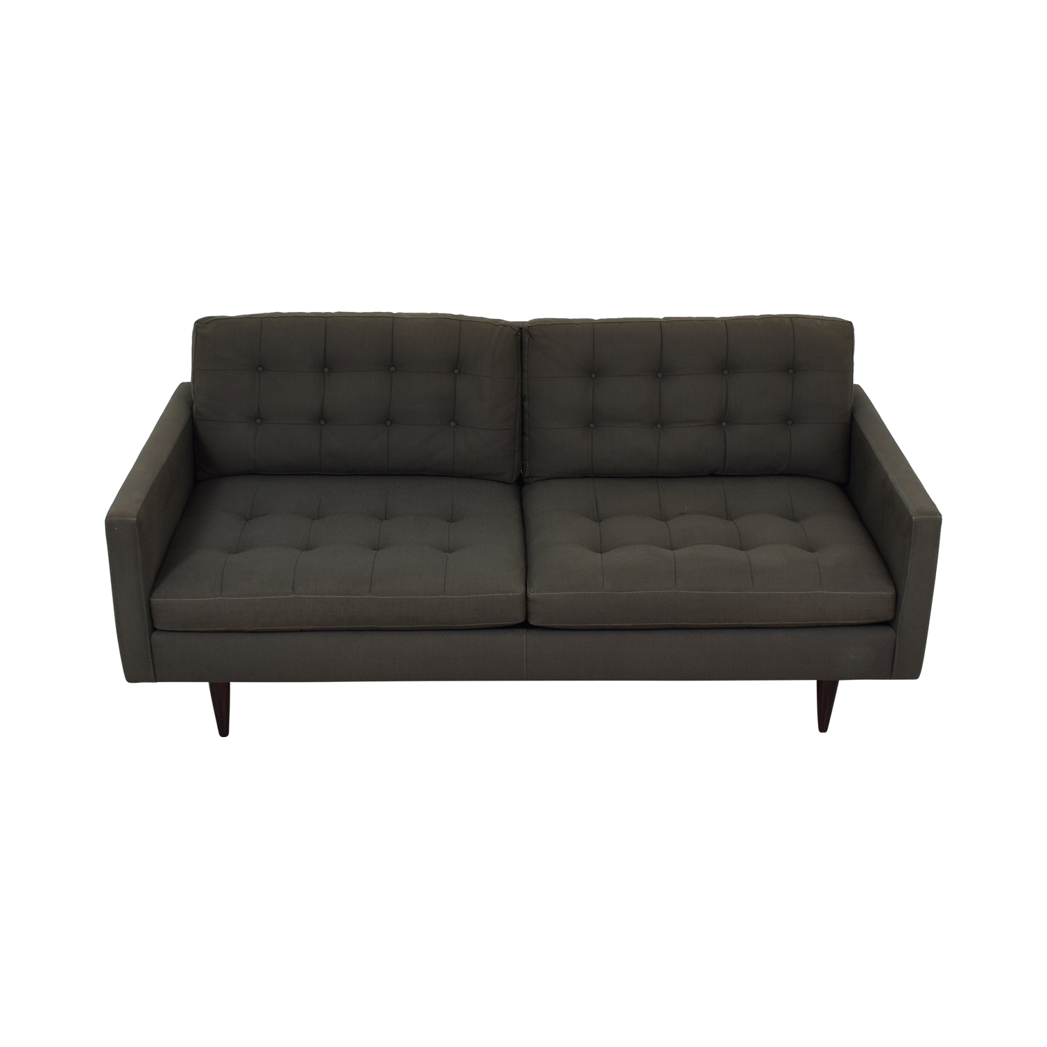 buy Crate & Barrel Crate & Barrel Petrie Grey Tufted Two-Cushion Sofa online