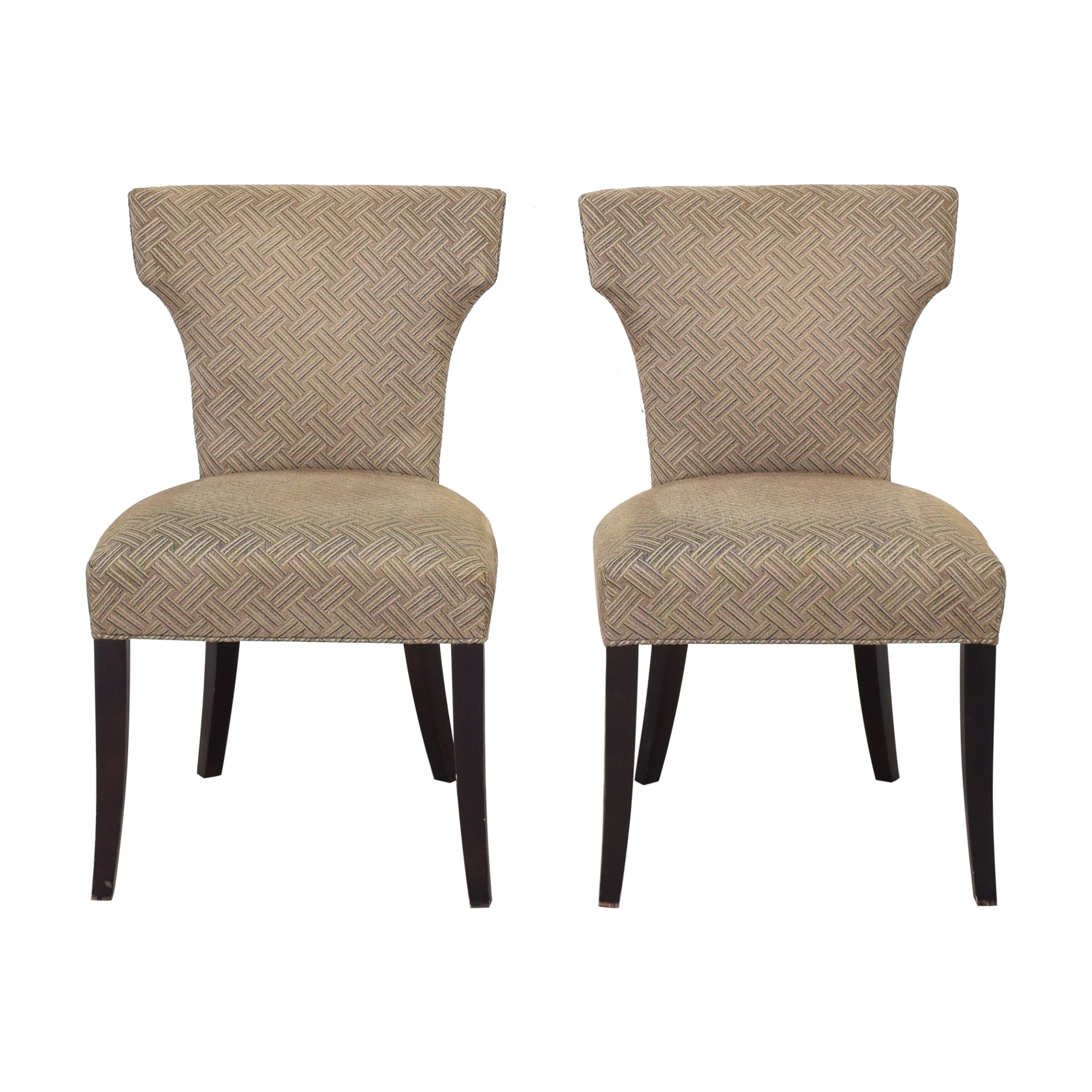 Crate & Barrel Crate & Barrel Sasha Upholstered Dining Chairs grey and brown