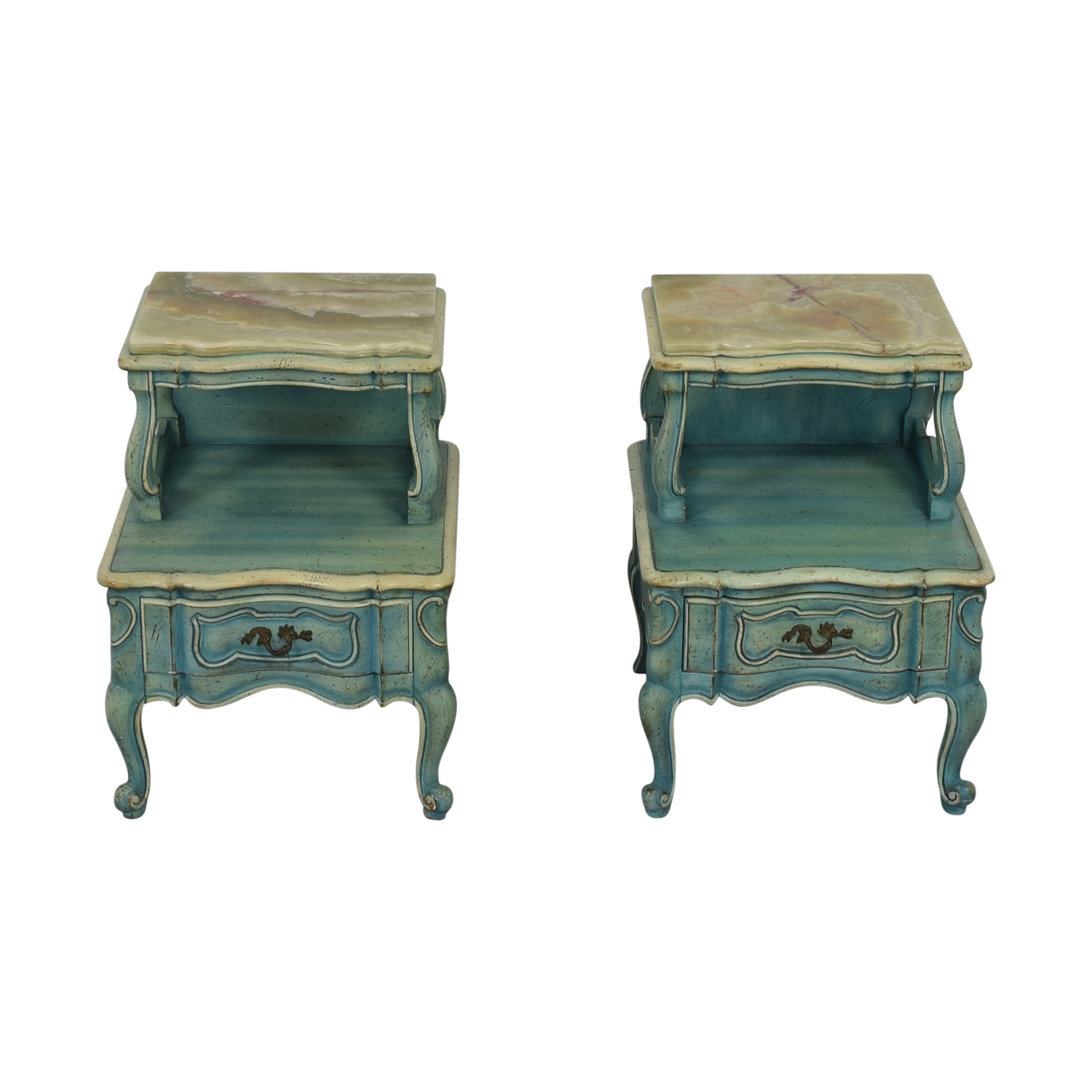 French Blue Single Drawer Night Tables on sale