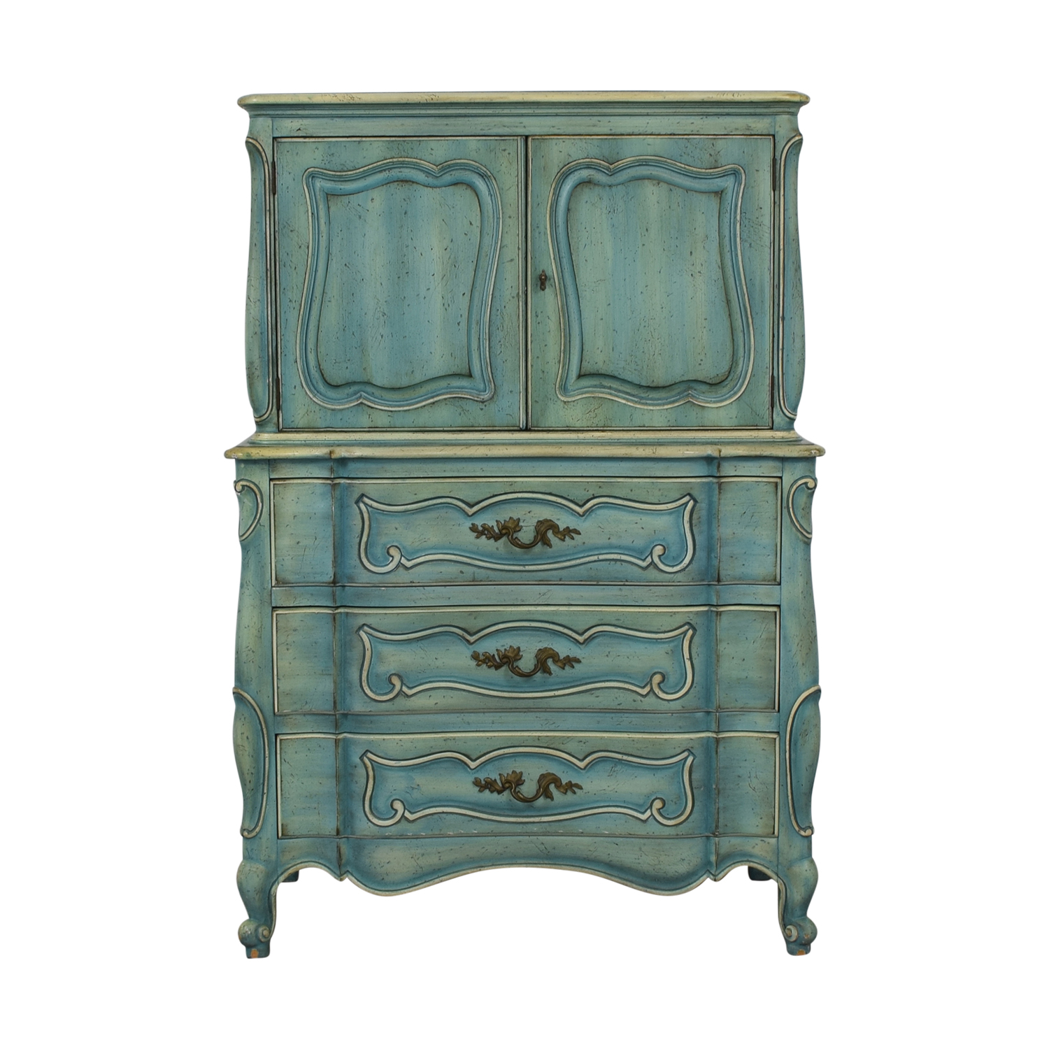 French Blue Six-Drawer Armoire discount