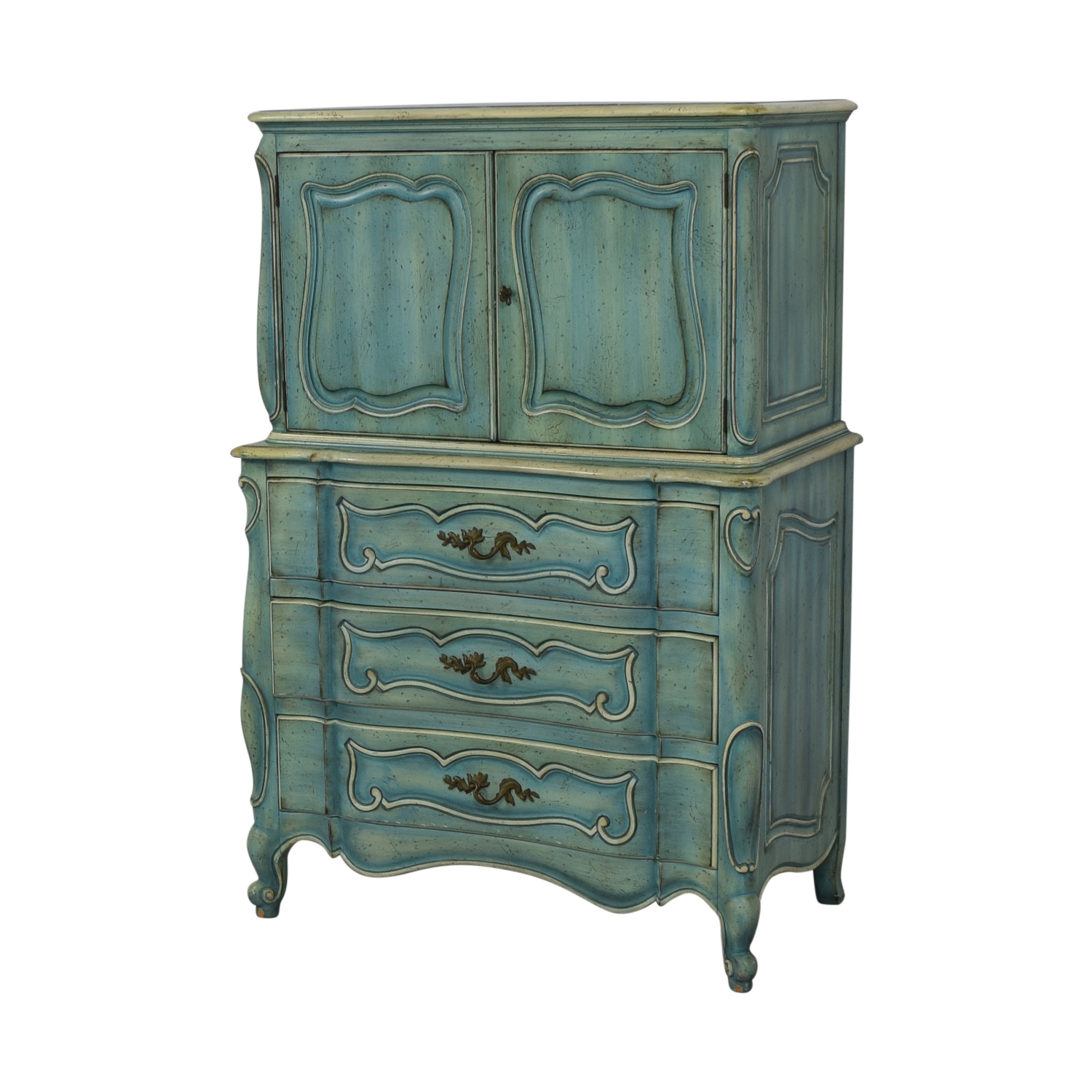 French Blue Six-Drawer Armoire