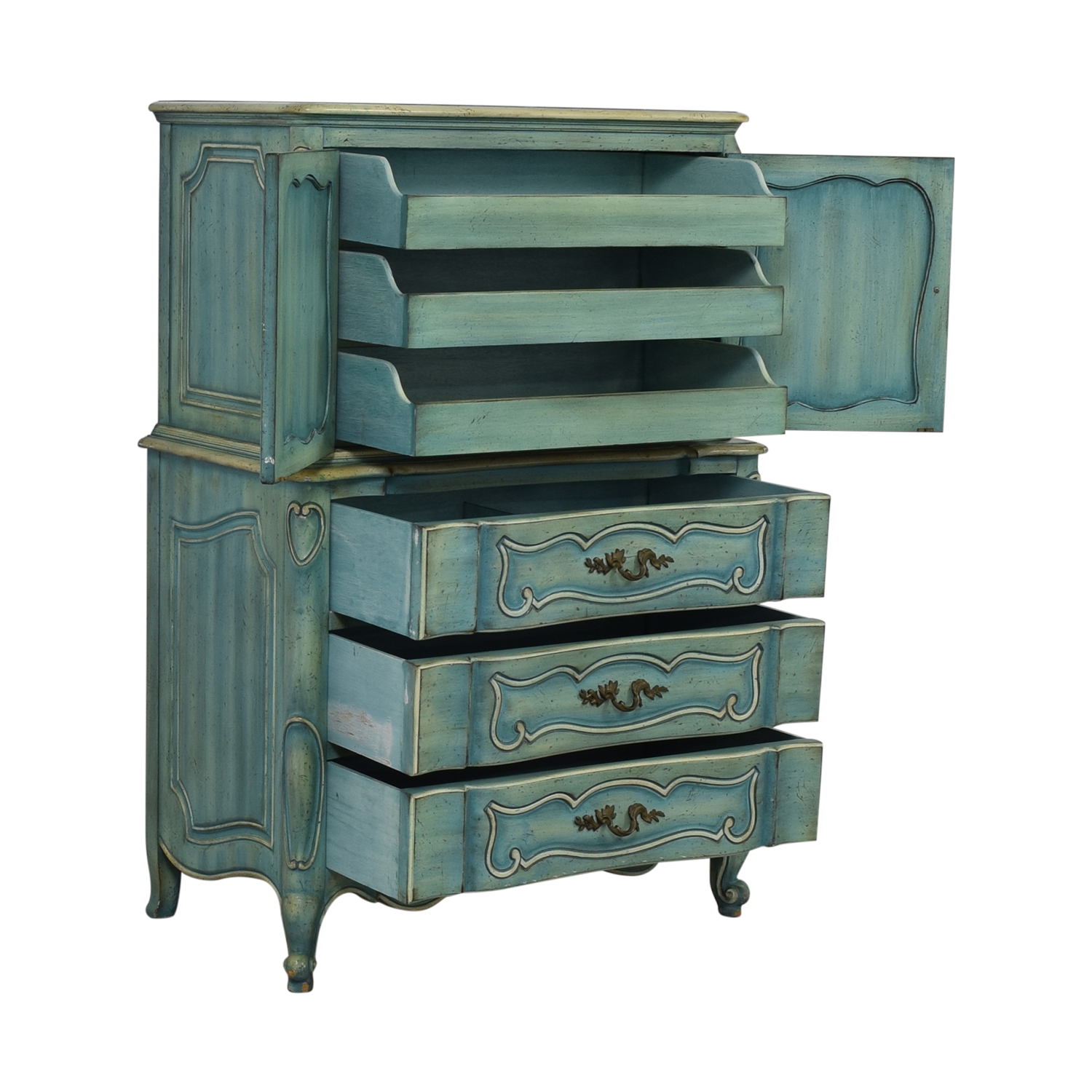 French Blue Six-Drawer Armoire dimensions