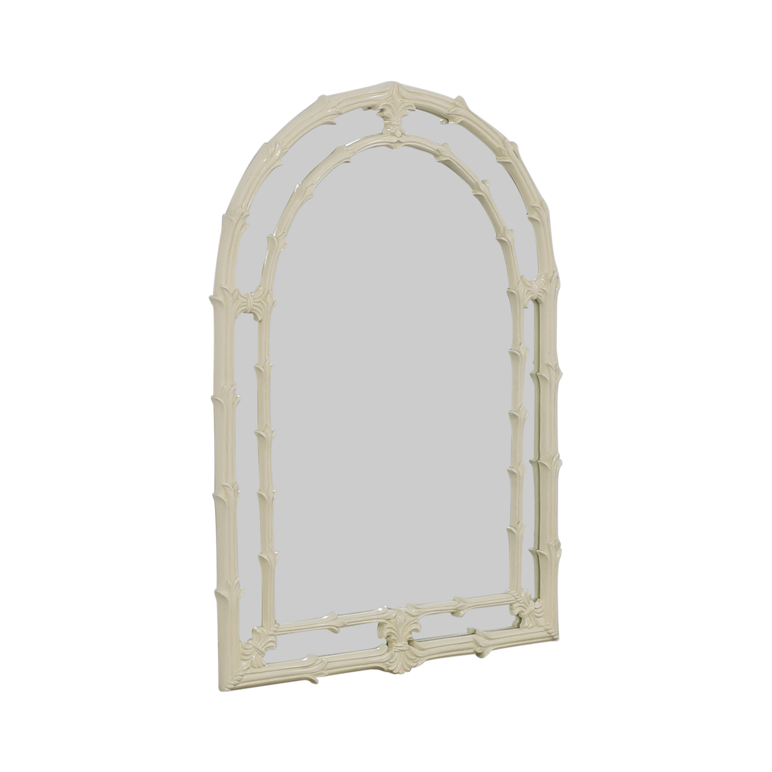 buy Asian Fleur de Lis White Lacquered Wood Arched Mirror  Decor