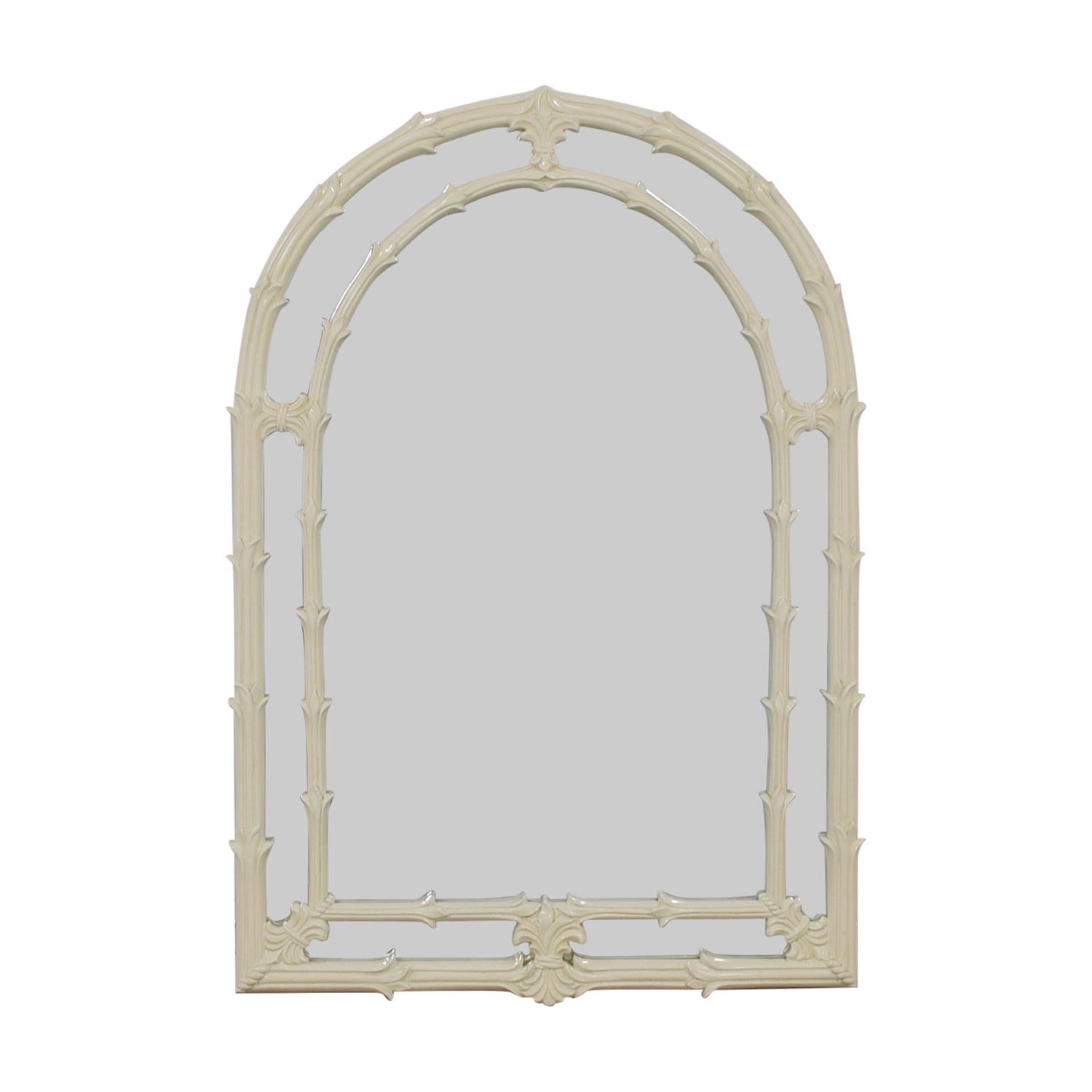 shop Asian Fleur de Lis White Lacquered Wood Arched Mirror  Mirrors