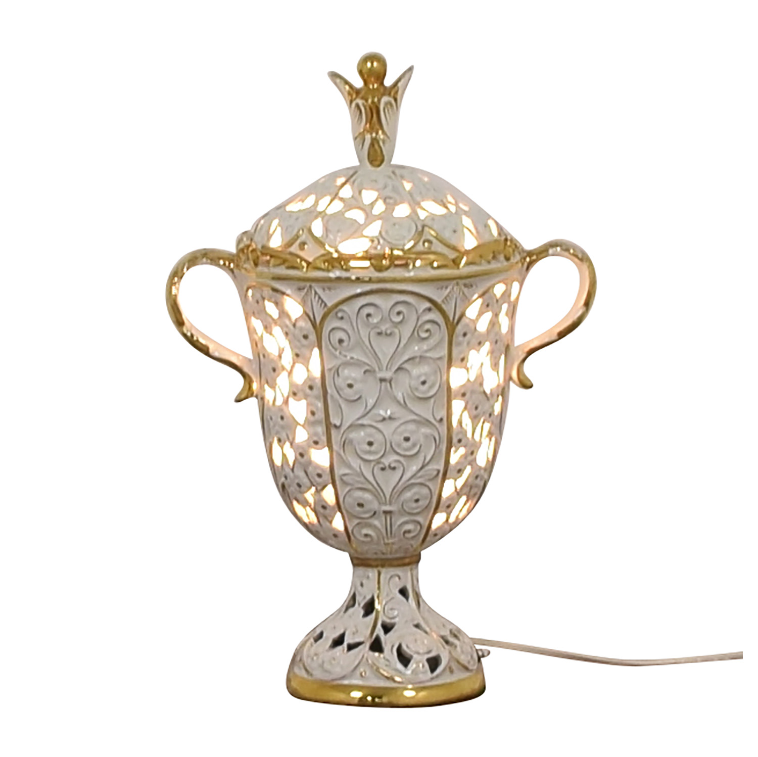 Antique White and Gold Porcelain Pierced Electric Lamp coupon