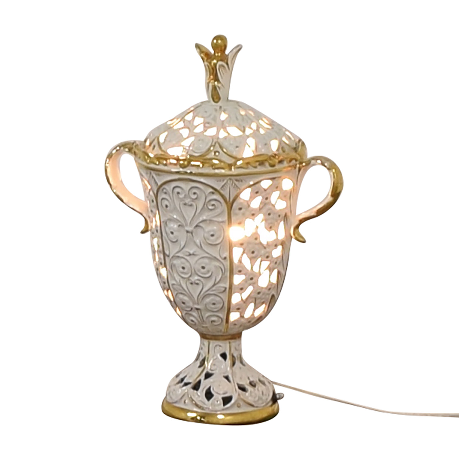 Antique White and Gold Porcelain Pierced Electric Lamp discount