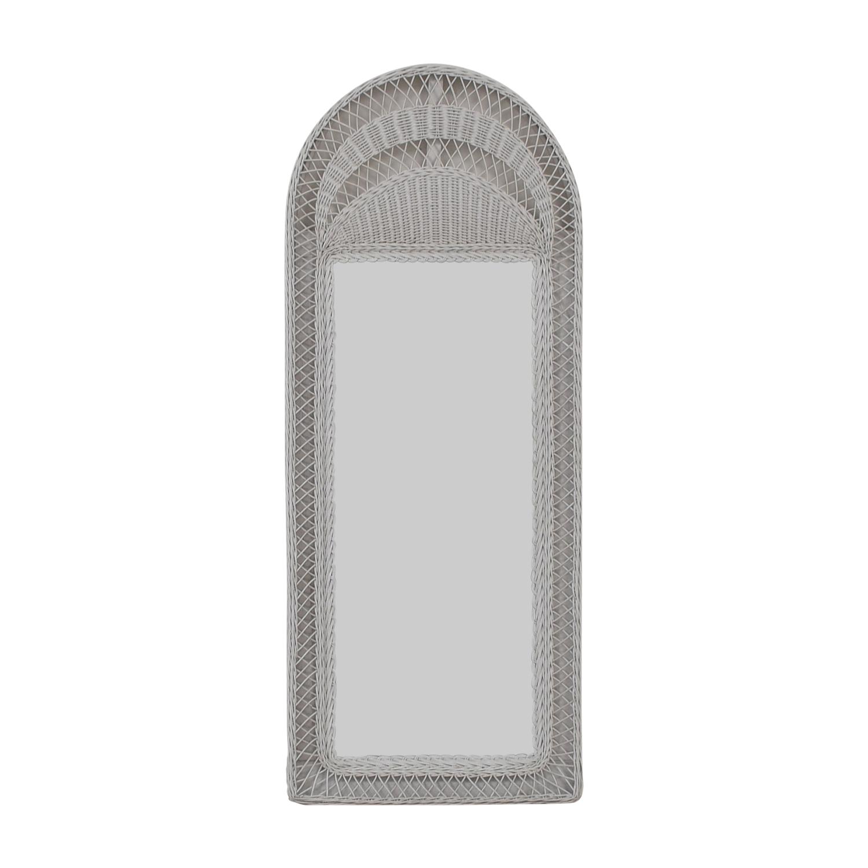 90 Off White Wicker Floor Mirror Decor