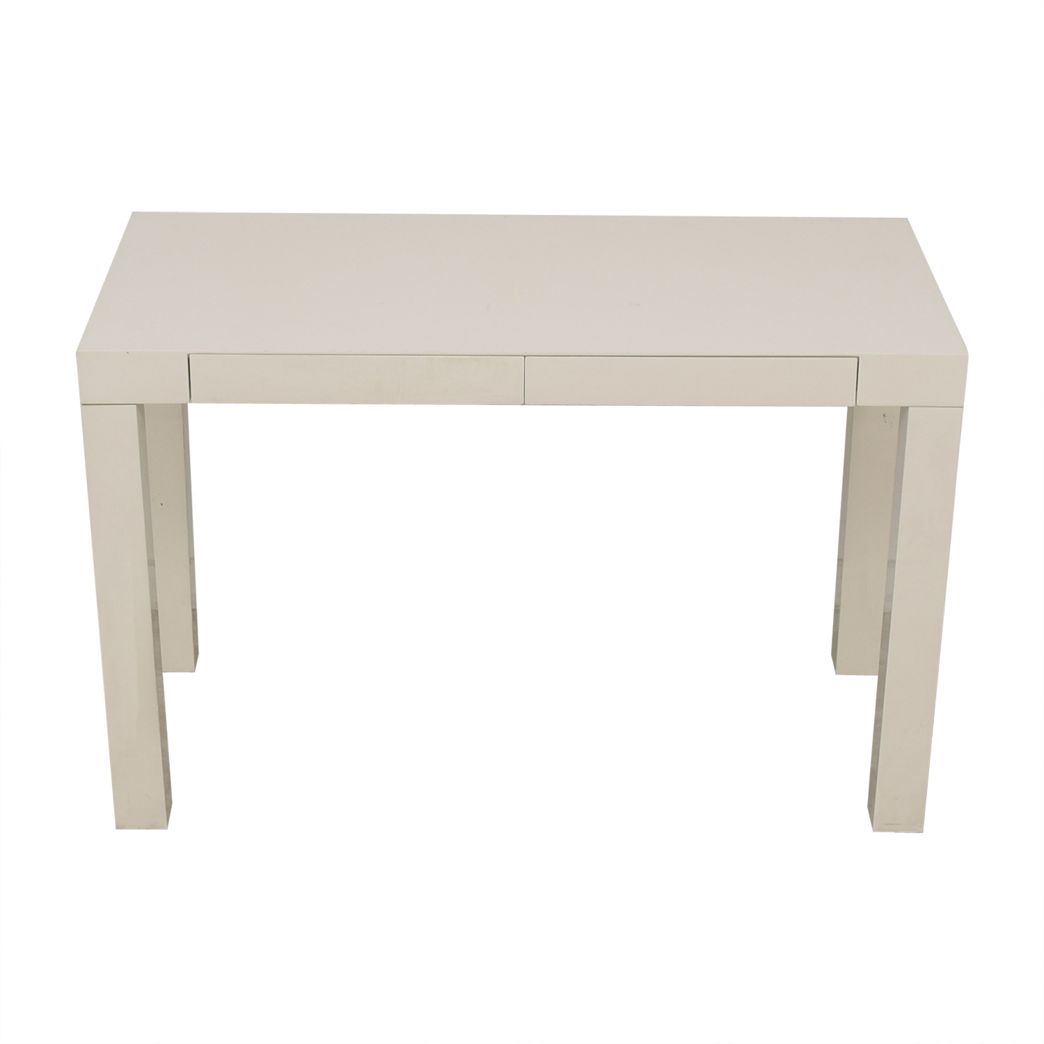 shop West Elm Parsons White Two-Drawer Desk West Elm Tables