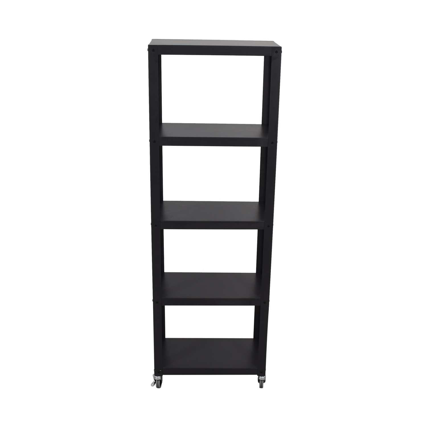 CB2 CB2 Go-Cart Black Five-Shelf Rolling Bookcase dimensions