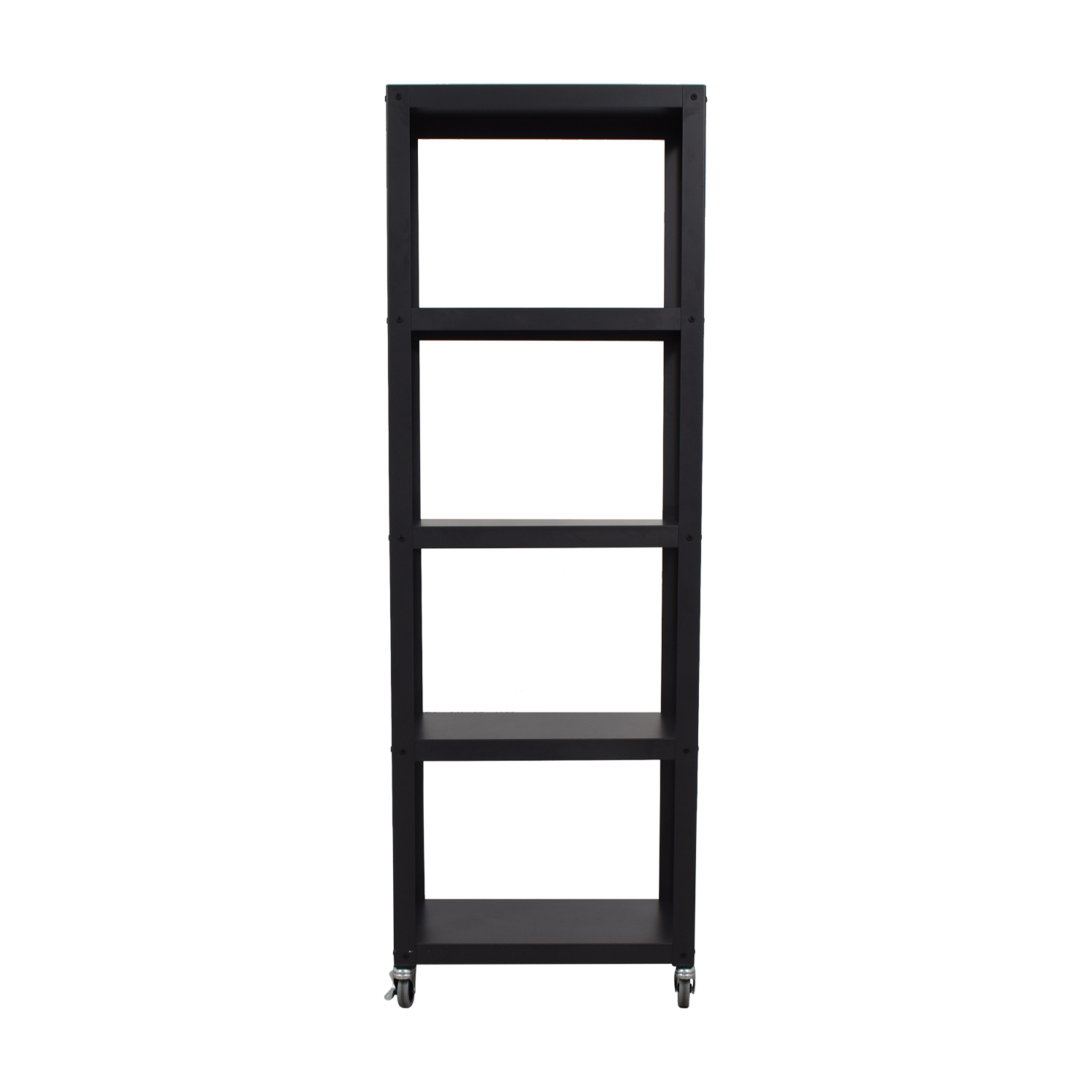 CB2 CB2 Go-Cart Black Five-Shelf Rolling Bookcase used
