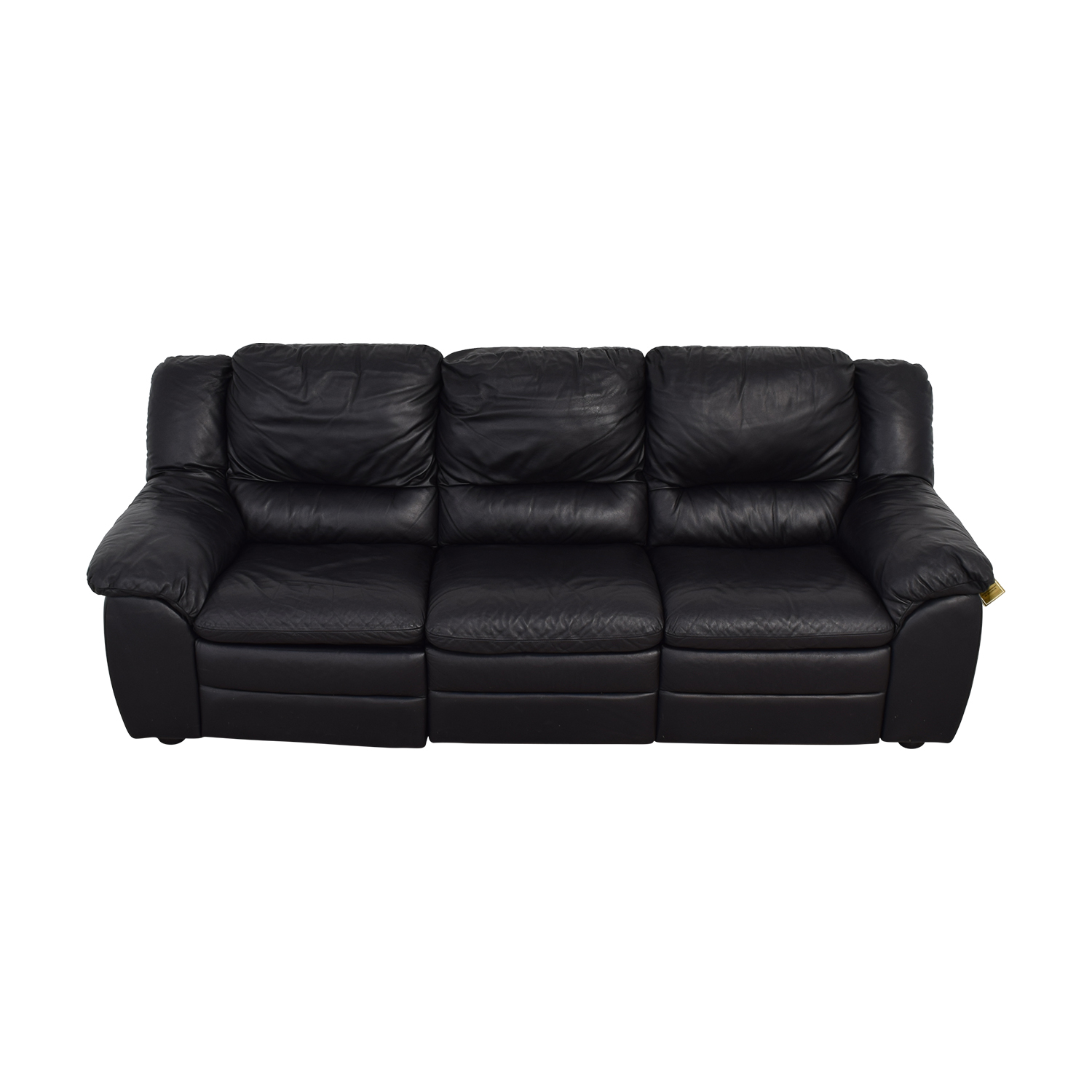 Natuzzi Natuzzi Black Leather Three-Cushion Recliner Sofa nyc