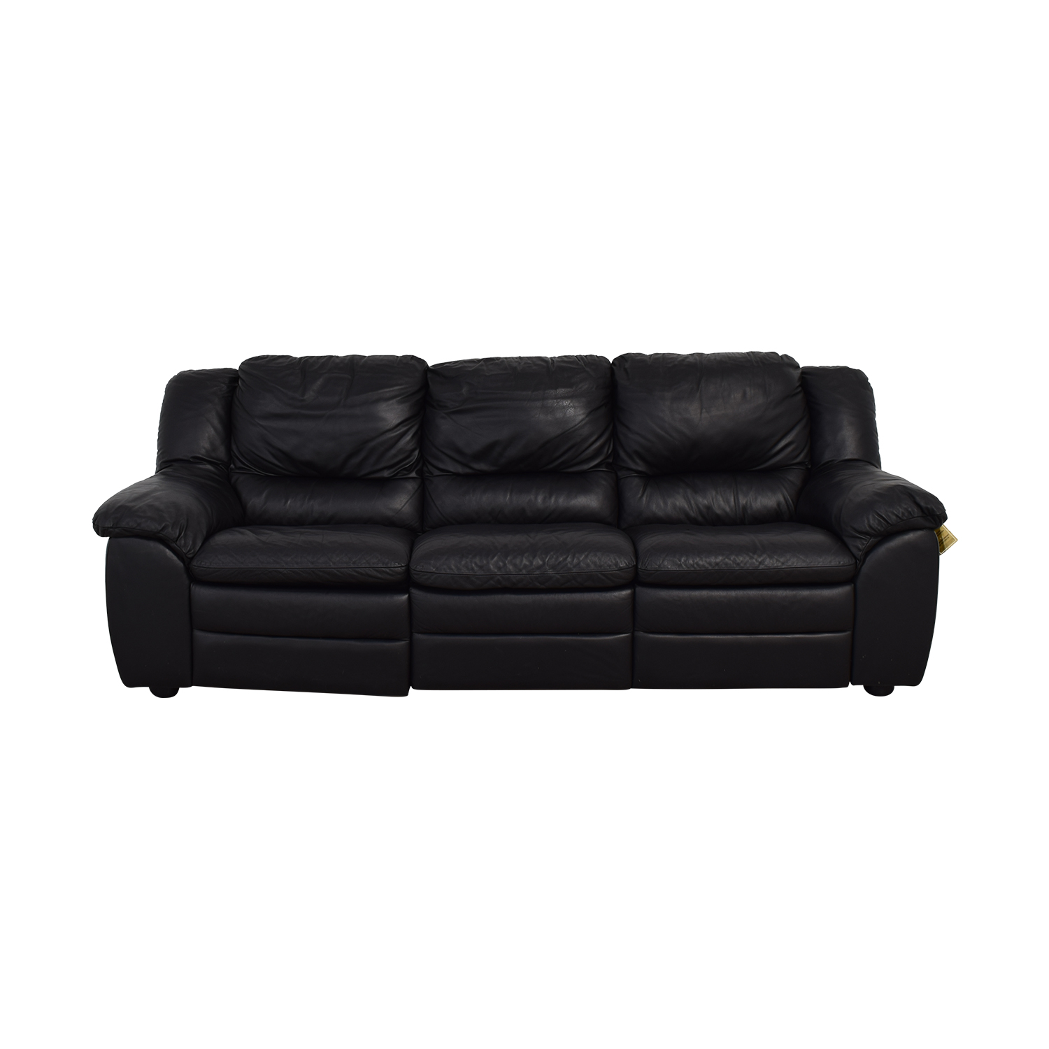 Natuzzi Black Leather Three-Cushion Recliner Sofa Natuzzi