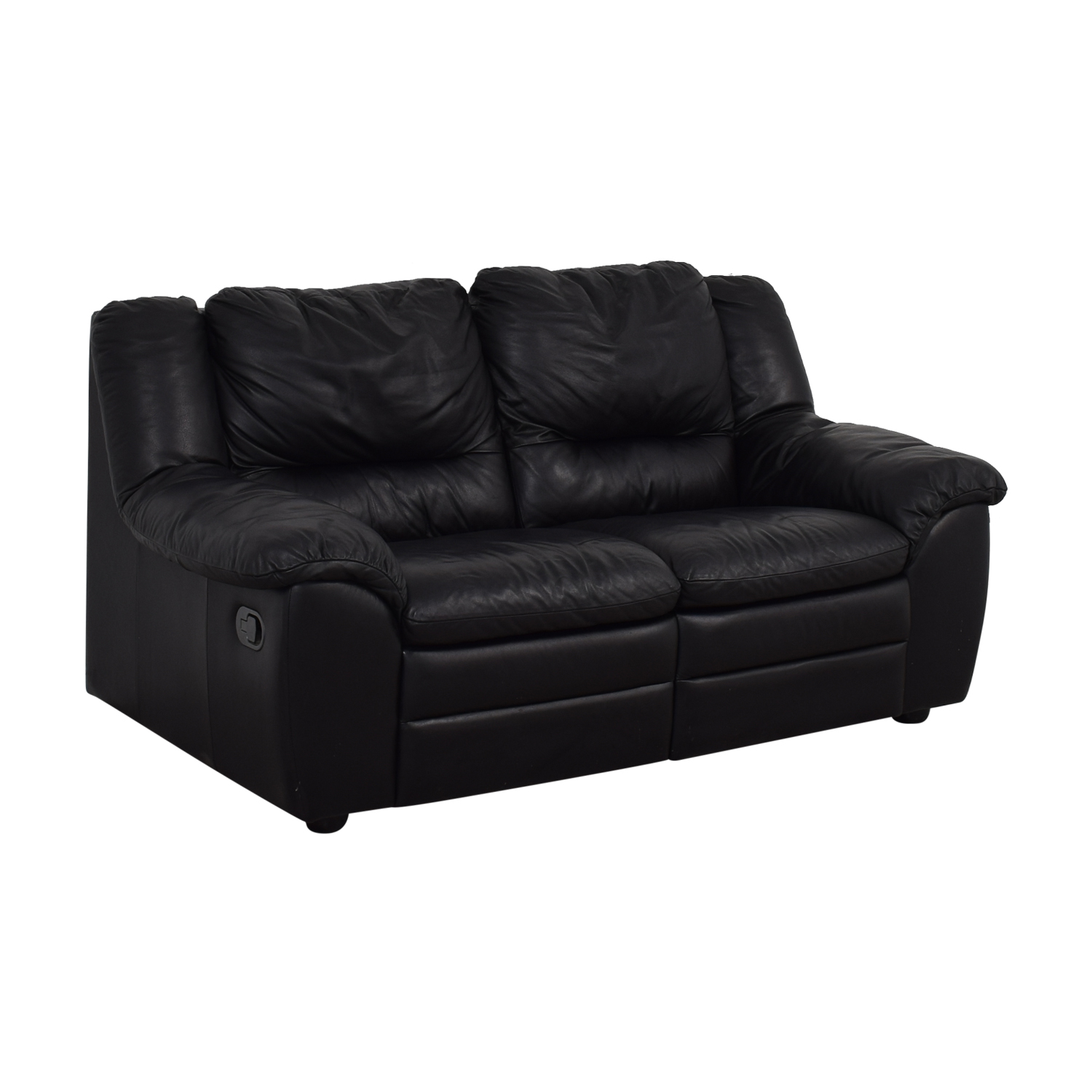 buy Natuzzi Black Leather Two-Cushion Recliner Loveseat Natuzzi Sofas
