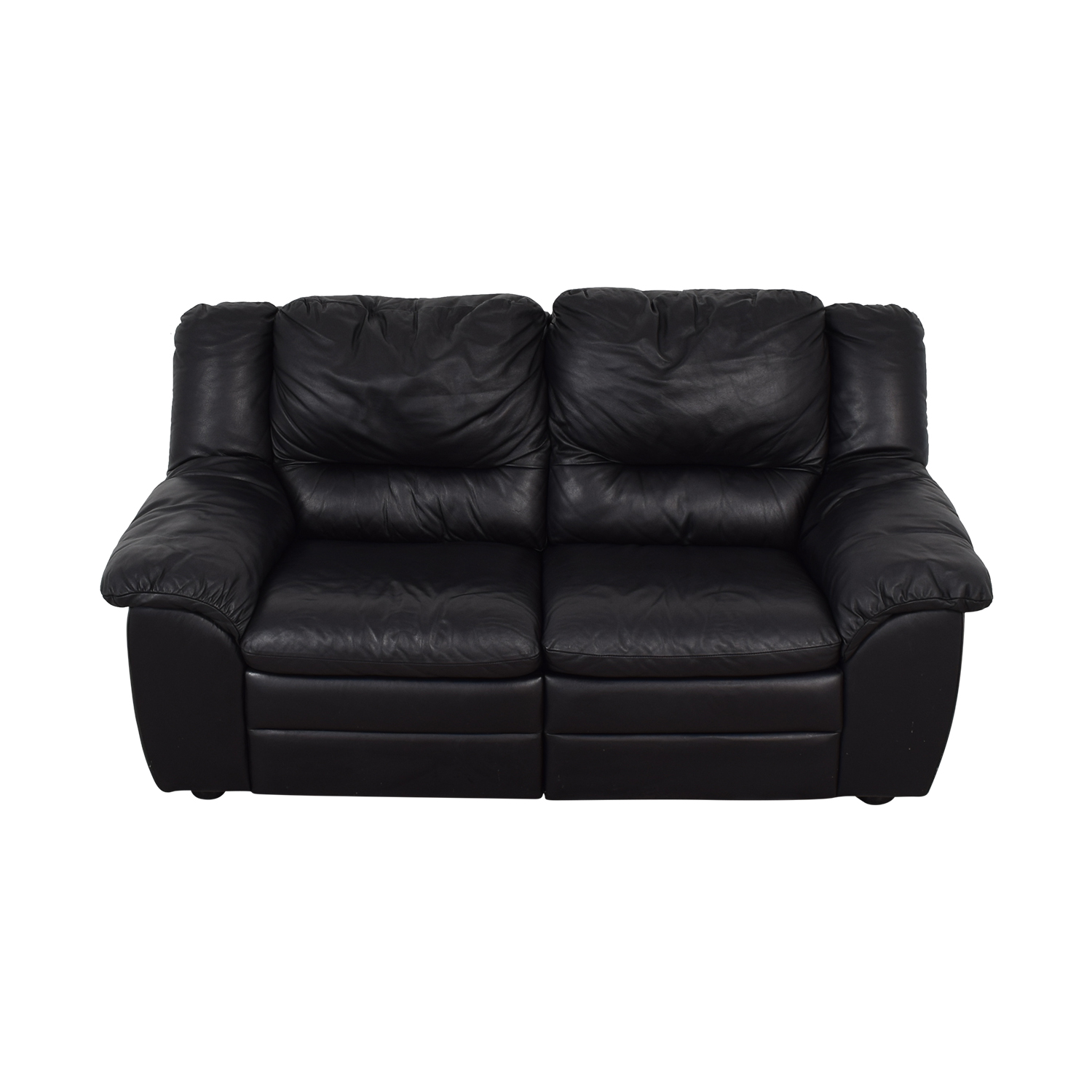 Natuzzi Black Leather Two-Cushion Recliner Loveseat / Sofas