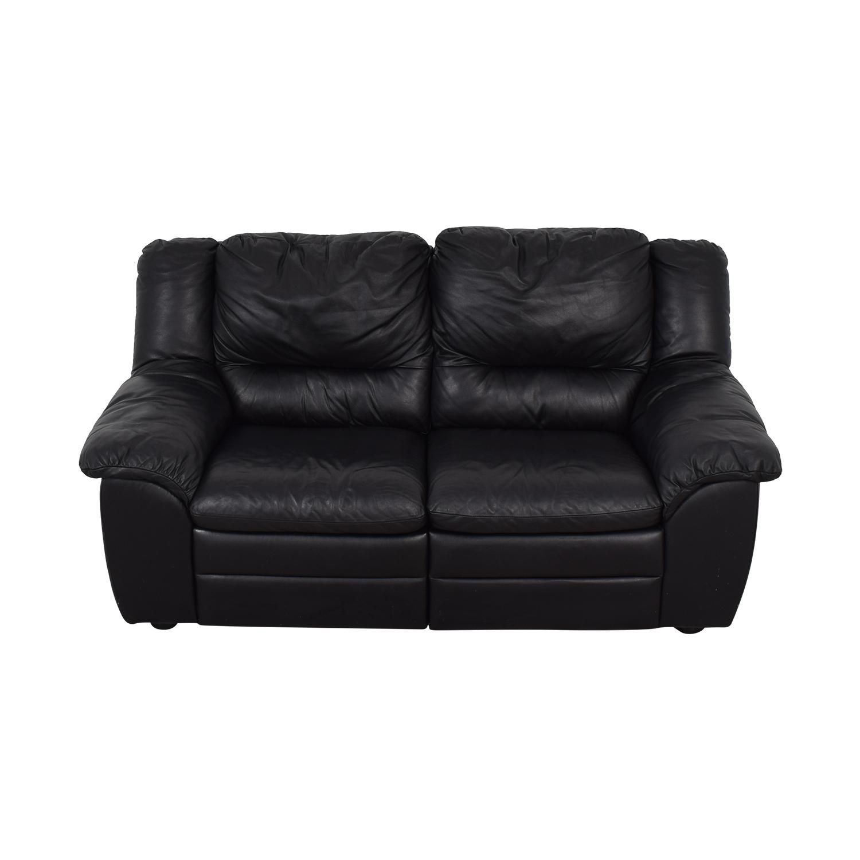 Natuzzi Natuzzi Black Leather Two-Cushion Recliner Loveseat Loveseats