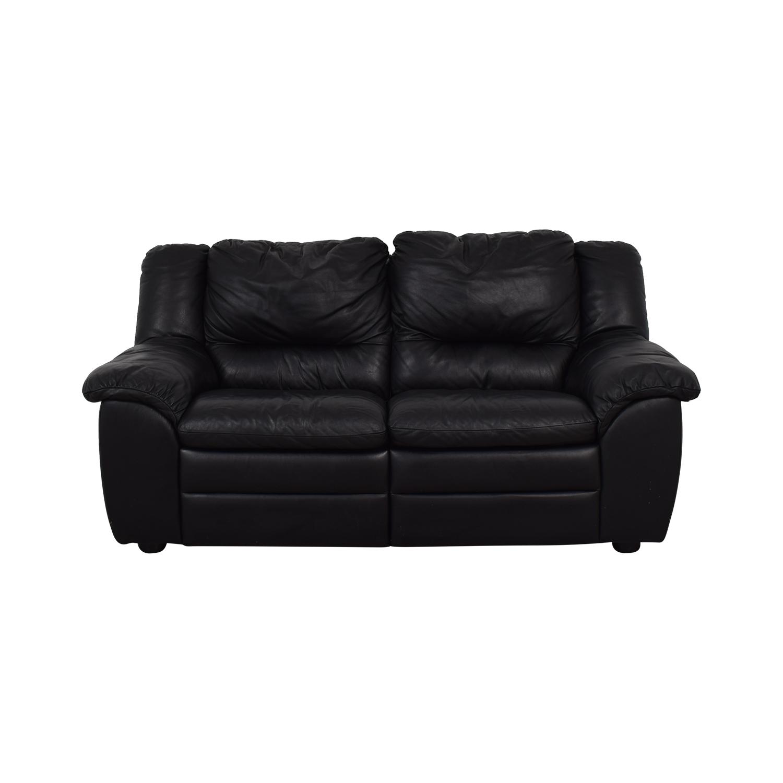 Natuzzi Natuzzi Black Leather Two-Cushion Recliner Loveseat used