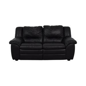 Natuzzi Black Leather Two-Cushion Recliner Loveseat sale