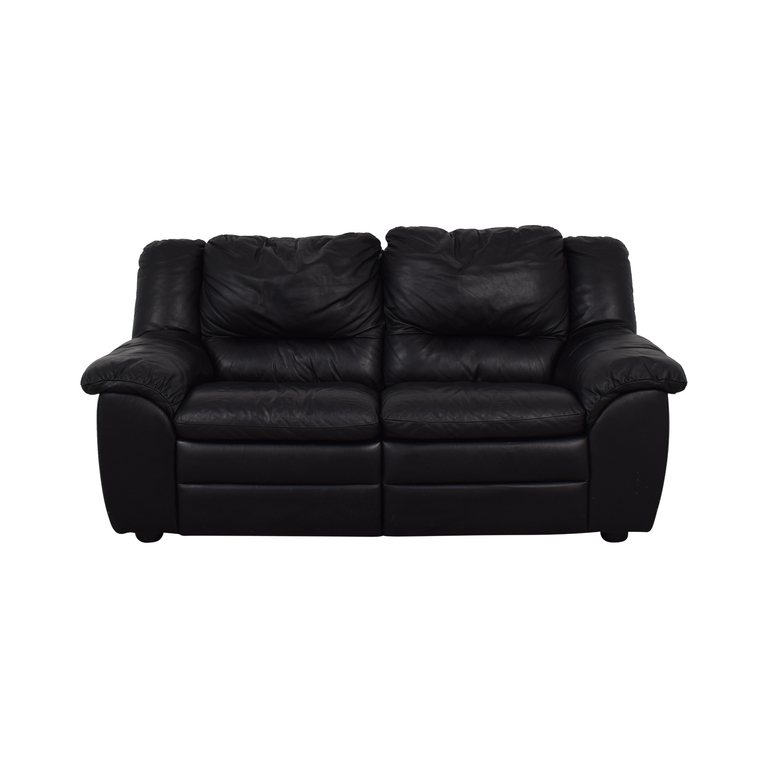 Natuzzi Black Leather Two-Cushion Recliner Loveseat / Chairs