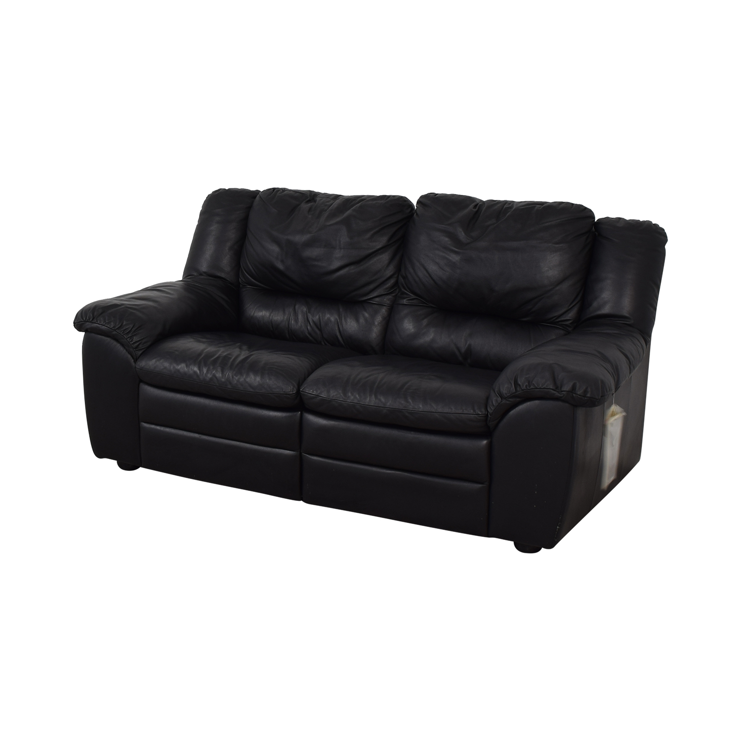 shop Natuzzi Natuzzi Black Leather Two-Cushion Recliner Loveseat online