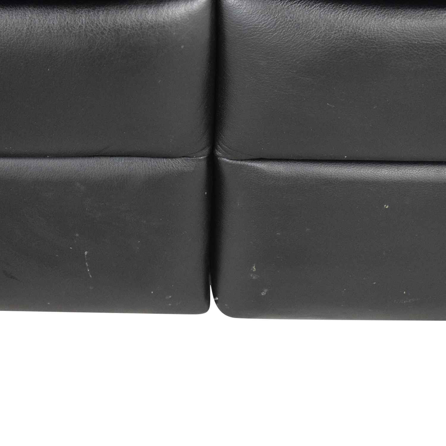 Natuzzi Natuzzi Black Leather Two-Cushion Recliner Loveseat discount