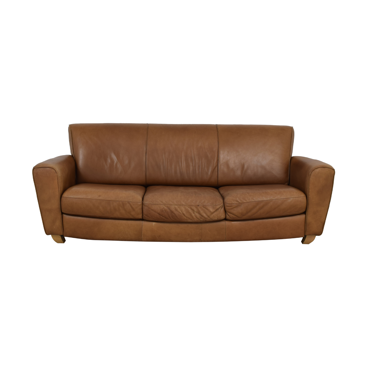Brown Three-Cushion Couch