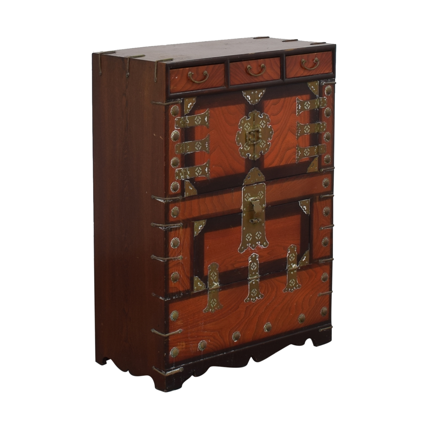 Three-Drawer Chinese Wood Chest used