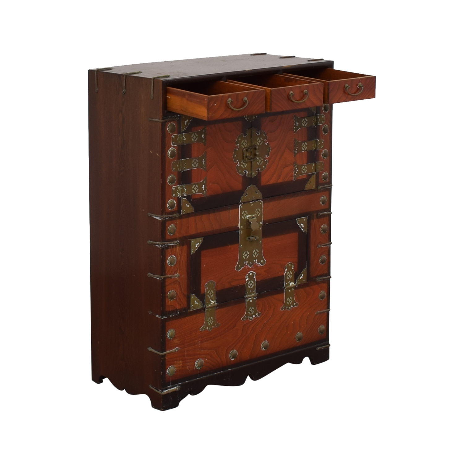 Three-Drawer Chinese Wood Chest for sale