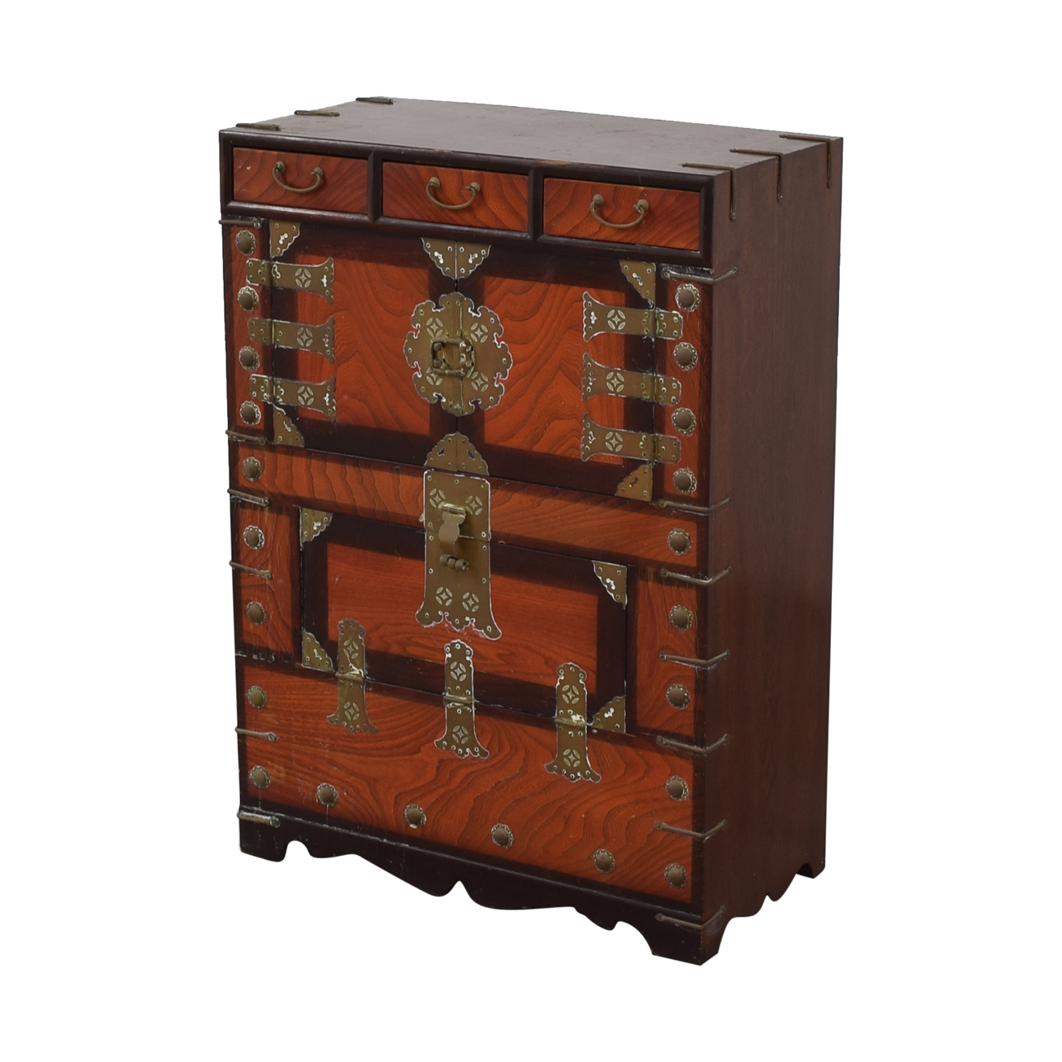 Three-Drawer Chinese Wood Chest dimensions
