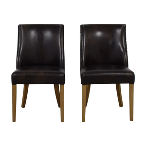 buy Restoration Hardware Restoration Hardware Brown Leather Dining Chairs online