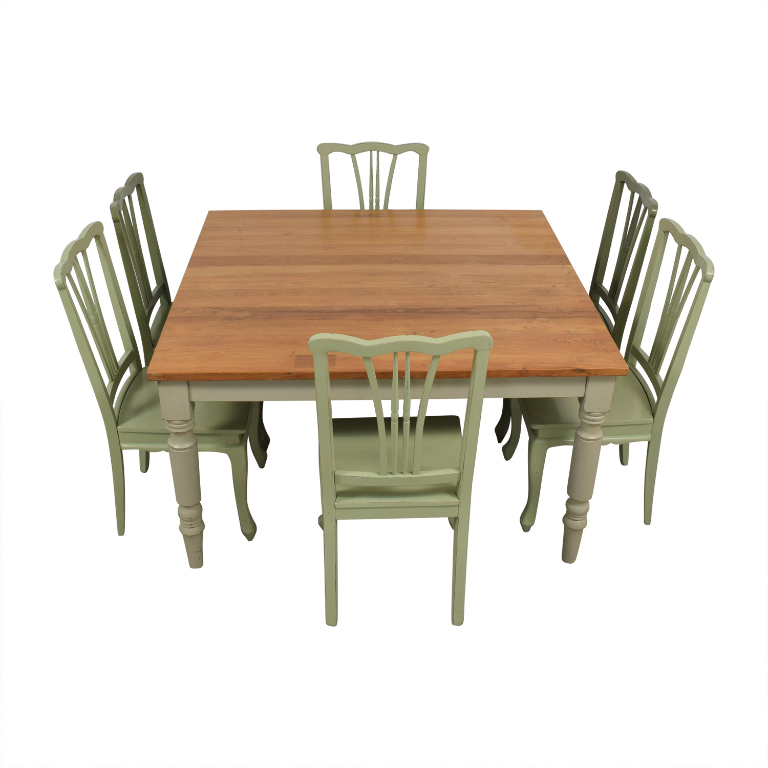 Wood Extendable Dining Set with Green Chairs