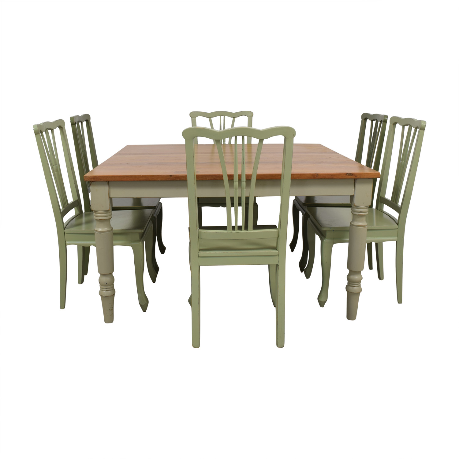 Wood Extendable Dining Set with Green Chairs / Dining Sets