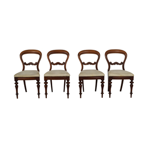 Biedermeier Biedermeier Carved Wood with Beige Striped Upholstered Chairs