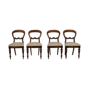 Biedermeier Biedermeier Carved Wood with Beige Striped Upholstered Chairs on sale