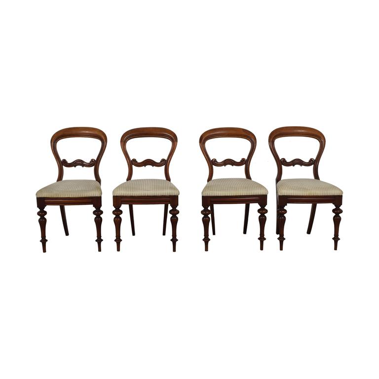 buy Biedermeier Carved Wood with Beige Striped Upholstered Chairs Biedermeier Chairs
