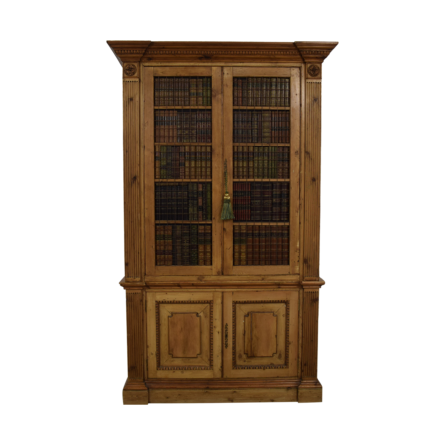 Russian Wood Storage Amoire with Faux Book Facade discount