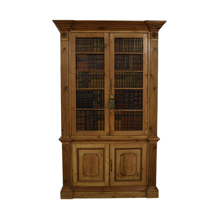 Russian Wood Storage Amoire with Faux Book Facade sale