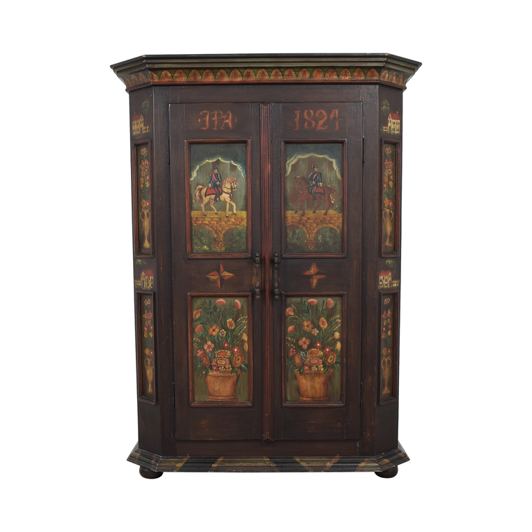 Painted Wood Two-Drawer Storage Armoire
