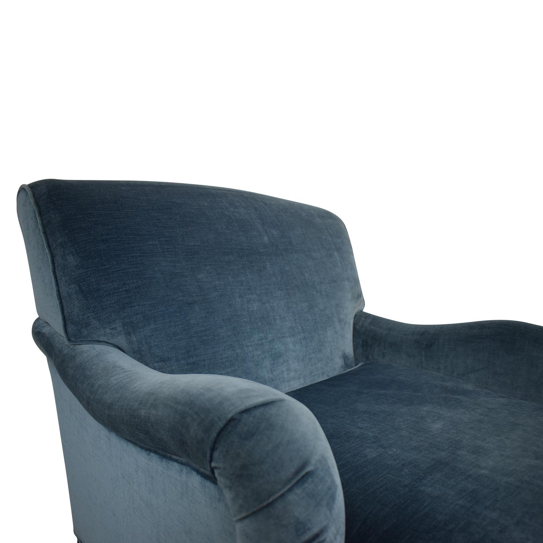 Mitchell Gold + Bob Williams Mitchell Gold + Bob Williams Blue Velvet Chaise Lounge on Castors nj