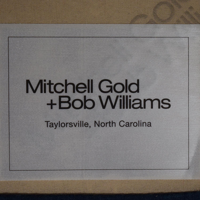 Mitchell Gold + Bob Williams Blue Velvet Chaise Lounge on Castors Mitchell Gold + Bob Williams