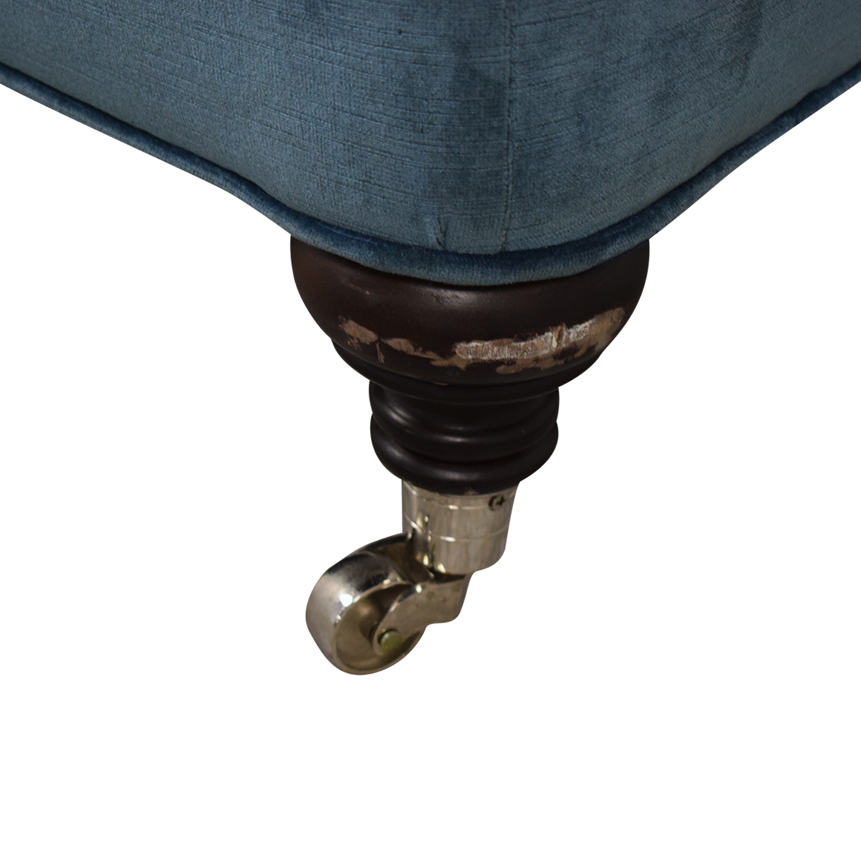 buy Mitchell Gold + Bob Williams Blue Velvet Chaise Lounge on Castors Mitchell Gold + Bob Williams