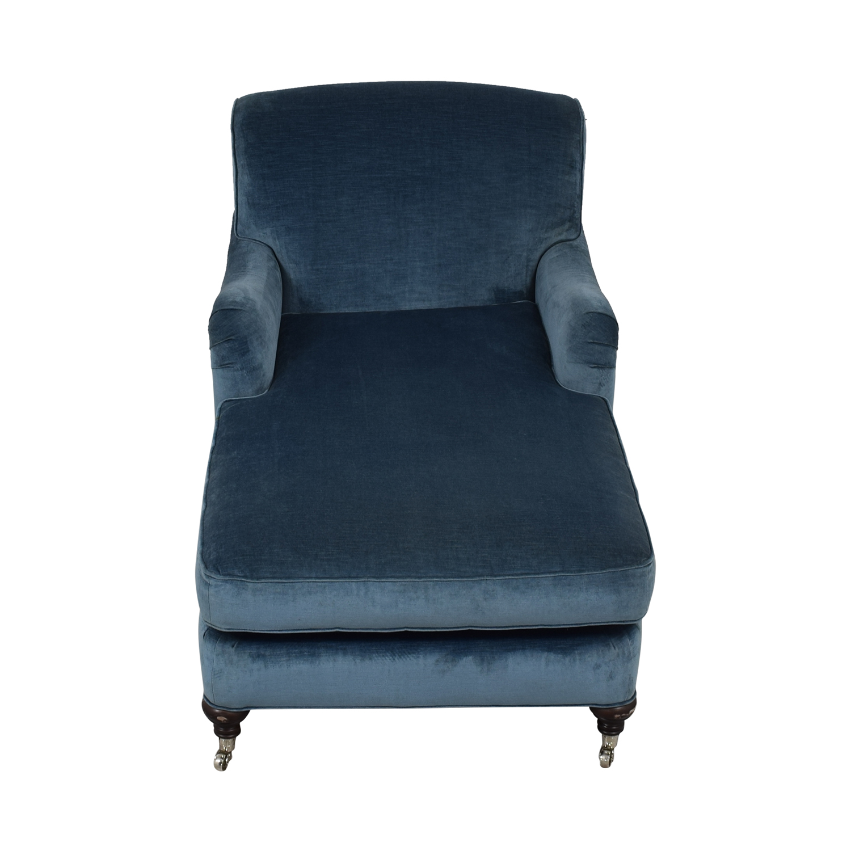 Mitchell Gold + Bob Williams Mitchell Gold + Bob Williams Blue Velvet Chaise Lounge on Castors Chaises